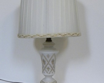Vintage Hollywood Regency Lamp -- Urn Style Frosted White Glass with 24 KT Gold trim and marble base -- Made in Italy