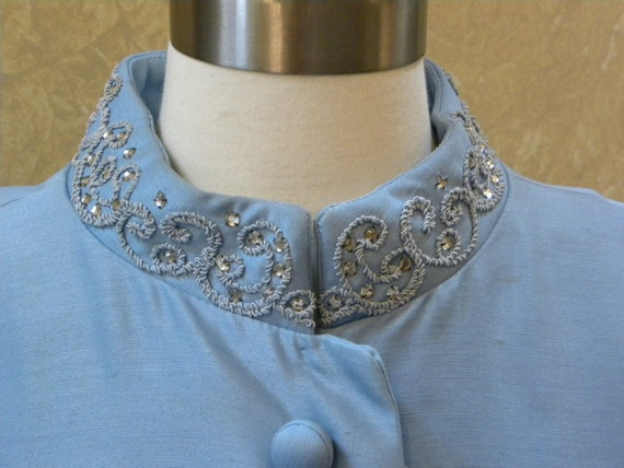 Vintage 1960s Dress Coat -- Robin Egg Blue Rayon Silk Rhinestone Embellished Fashionista Dress Coat-38 Bust-40 Waist-48 Hip