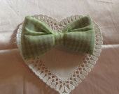 Light green Gingham bow barrette