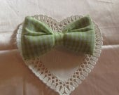 Light green Gingham bow barrette