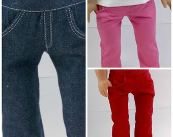 18 inch Doll Denim or Twill Skinny Jeans with Real Pockets Pants Doll ClothesToys