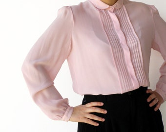 Vintage 1970s Sheer Tea Rose Pleated Blouse / Size L