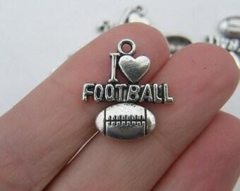 BULK 30 I love football pendants antique silver tone SP18