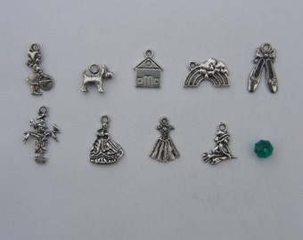 The Wizard of Oz Collection - 9 different antique silver tone charms