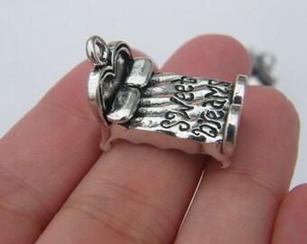 BULK 10 Bed pendants antique silver tone P95