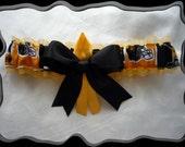 Gold Organza Ribbon Wedding Garter Toss Made w Iowa Hawkeyes Fabric~~SALE~~~