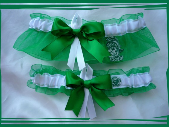 Green Organza Ribbon Wedding Garter Set Made with Michigan State Fabric