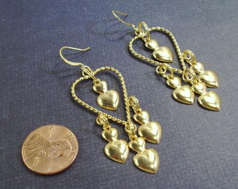 Gold Twisted Hearts Earrings