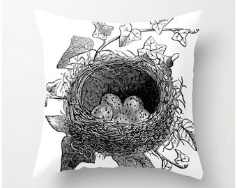 Black and White Birds Nest decorative throw pillow, accent cushion bw, pillow cover, cushion cover, home decor, bedding, toss cushions