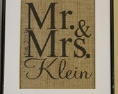 Free US Shipping...Burlap Wedding or Anniversary Personalized Artwork...Great for wedding gift, engagement gift, anniversary gift