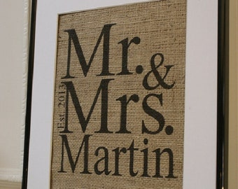 Free US Shipping...Personalized Burlap Print - Engagements, Weddings, Anniversaries. Print only.