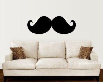 Mustache Decal - Living Room Wall Sticker - Hipster Office Decor