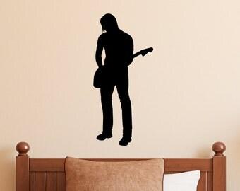 Guitar Player Wall Decal - Rock Star Wall Art - Rock n Roll Wall Decor - 1