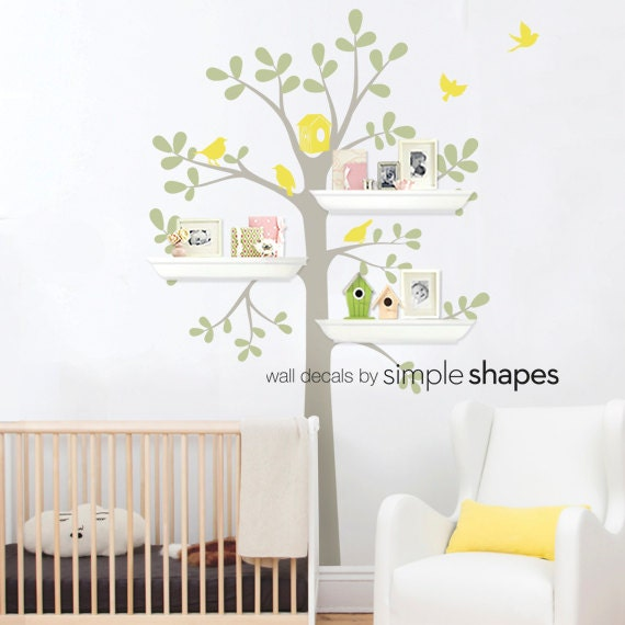 High Quality Tree Wall Decal   Shelving Tree Decal With Birds   Three Colors Part 16