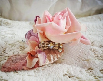 "Pink Velvet millinery roses and leaves, vintage rhinestone bow ""cupid's bow"""