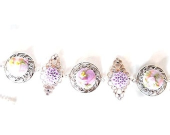 "Silver and lavender embroidered bracelet ""Lavender gingham"""