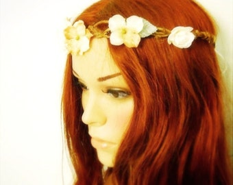 woodland wedding crown cream and copper hydreangeas mint velvet leaves