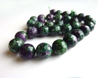 Green and Purple Jade beads - 13mm Pair