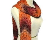 Apricots and Brandy Scarf, Hand Knit Scarf, Knit Scarf, Orange Scarf, Ombre Scarf,  Fiber Art, Womens Scarf, Winter Scarf
