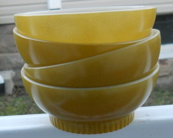 Vintage Fire King Glass Bowls 1970s Funky Gold Set