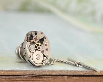 Steampunk Tie Tack pin, vintage watch movement soldered