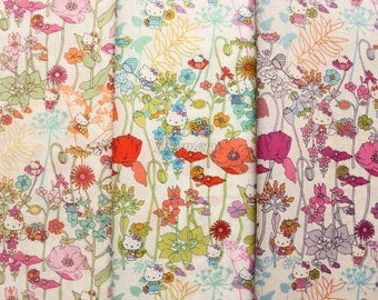 3 pcs of Liberty Hello kitty fabrics printed in Japan - Wild garden - 2013
