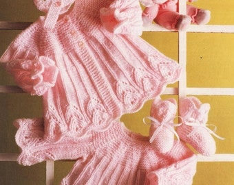 Baby Knitting PATTERN  Dress Coat, Booties and Bonnet BEAUTIFUL Heirloom - Immediate download