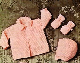 BABY KNITTING PATTERN  - Jacket, Bonnet, Mittens and Booties Boy or Girl