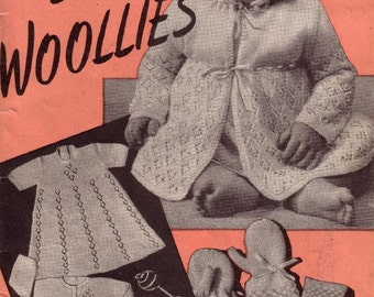Vintage Knitting Patterns  - 32 PAGES  -  Rare Baby Knitting & Crochet Layette Book 6-12 months 1940,s Weldons No 317