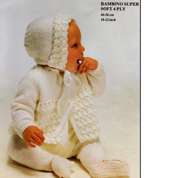 Vintage BABY KNITTING PATTERN Baby Coat and Bonnet 4 ply