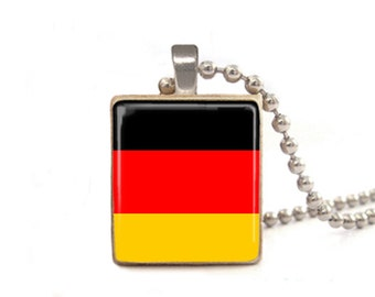 German Flag Necklace | Germany Pendant | Germany Necklace | German Flag Charm | Wood Jewelry | Game Tile Necklace | Flag Jewelry