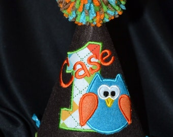 Owl Boy 1st Birthday Birthday Party Hat With Hand made pom pom top or have me custom make a hat to match your party theme