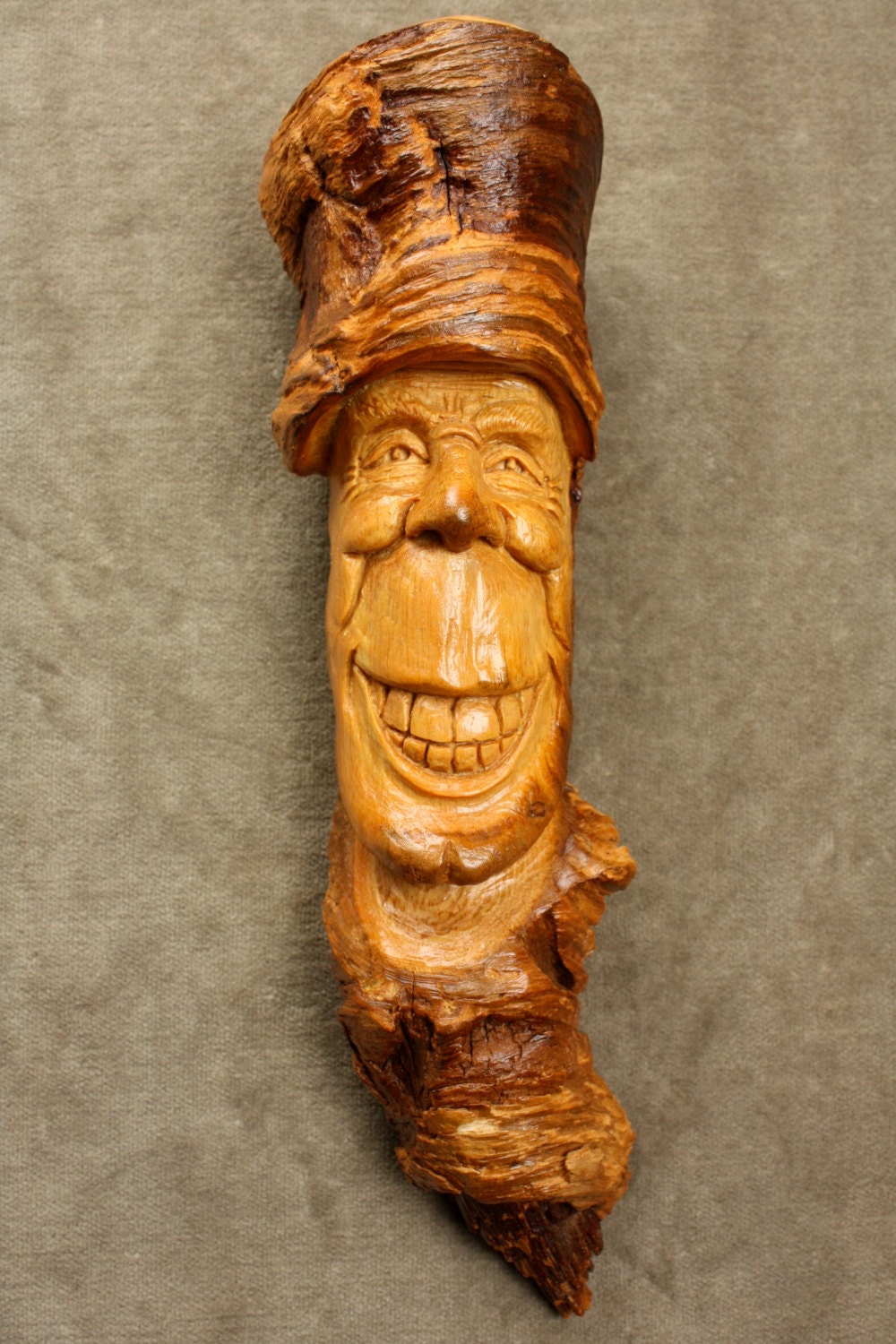Wood spirit carving art ooak birthday gift by