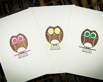 Owl Letterpress Art Print by The Permanent Collection