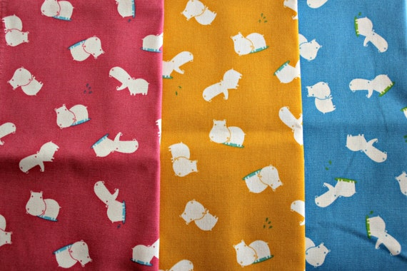 SALE.....15% OFF Daiwabo Japan Fabric, Hungry Hippo's 1/2 yd bundle , lightweight Cotton canvas,  3 total