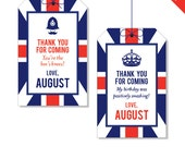 Union Jack Party - Personalized DIY printable favor tags
