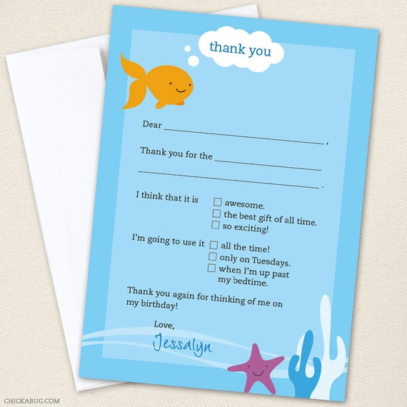 Under the Sea Thank You Cards - Professionally printed *or* DIY printable