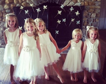 Ivory Flower girl dress, cotton flower girl dress,Organic sateen Cotton flower girl dress, tulle flower girl dress