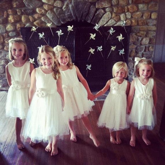 Ivory Flower girl dress, cotton flower girl dress,Organic sateen Cotton flower girl dress, tulle flower girl dress