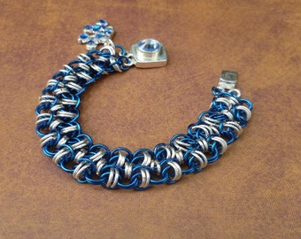 Autism Awareness Bracelet- Chainmaille Bracelet -Light it up Blue 2013 -Puzzle Piece bracelet- Asperger Awareness Bracelet