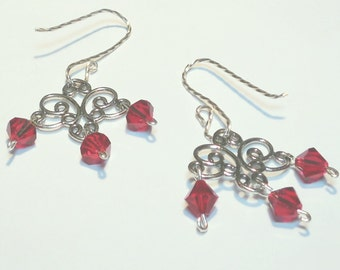 Chandelier Earrings with Red Swarovski Crystals