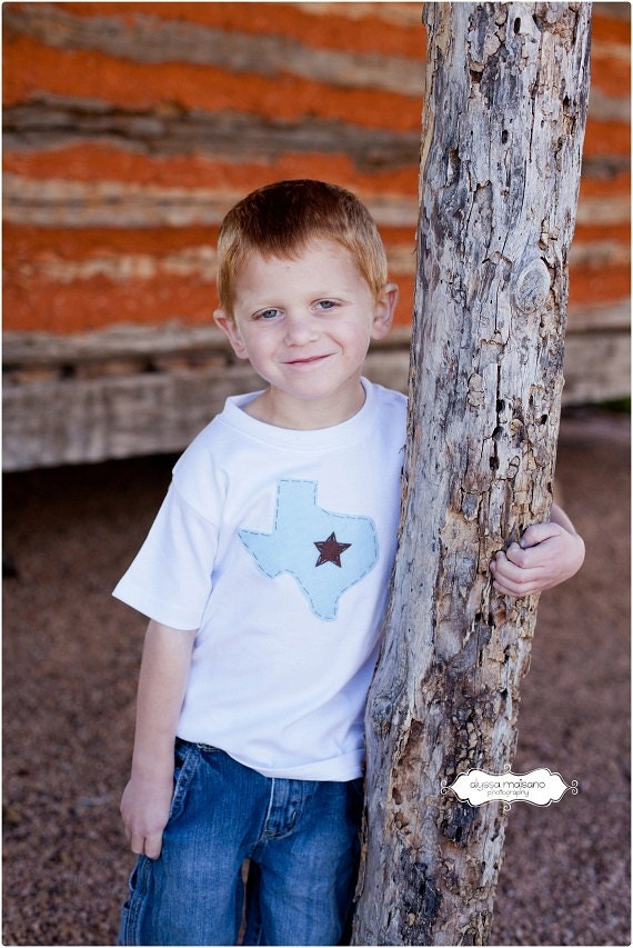 Boys Texas Home Shirt I Heart Texas Applique with Star