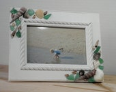 Beach Decor Photo Frame Decorated with Seashells and Sea Glass for Beach Lovers