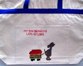 whimsical dogs  - hand painted zippered tote (designs on both sides)