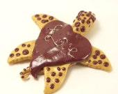 Valentine The Sea Turtle Handmade Red & Metallic Polymer Clay Art Sculpture OOAK - KindredImages