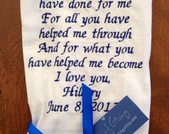 GROOM - SCRIPT Heirloom Personalized Wedding Handkerchief Custom Embroidered