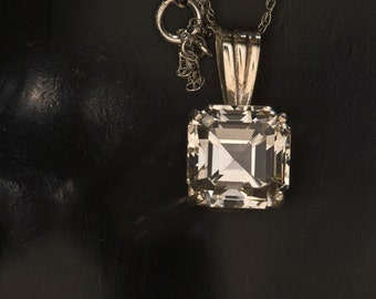Asscher Cut White Topaz Necklace, April Birthstone Necklace