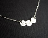 Custom Initial THREE discs , Sideways - Sterling Silver- engraved necklace, family necklace , for her, birthday gift , for Mother's Day gift