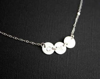 Custom Initial THREE discs, Sideways - Sterling Silver- engraved necklace, family necklace, for her, birthday gift , for Mother's Day gift