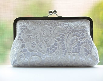 SALE Silk Lace Clutch - White on White - Ivory Lace Clutch - Bridal Bridesmaid Wedding Clutch Set Bag Purse Gift Ideas Handmade Handbags